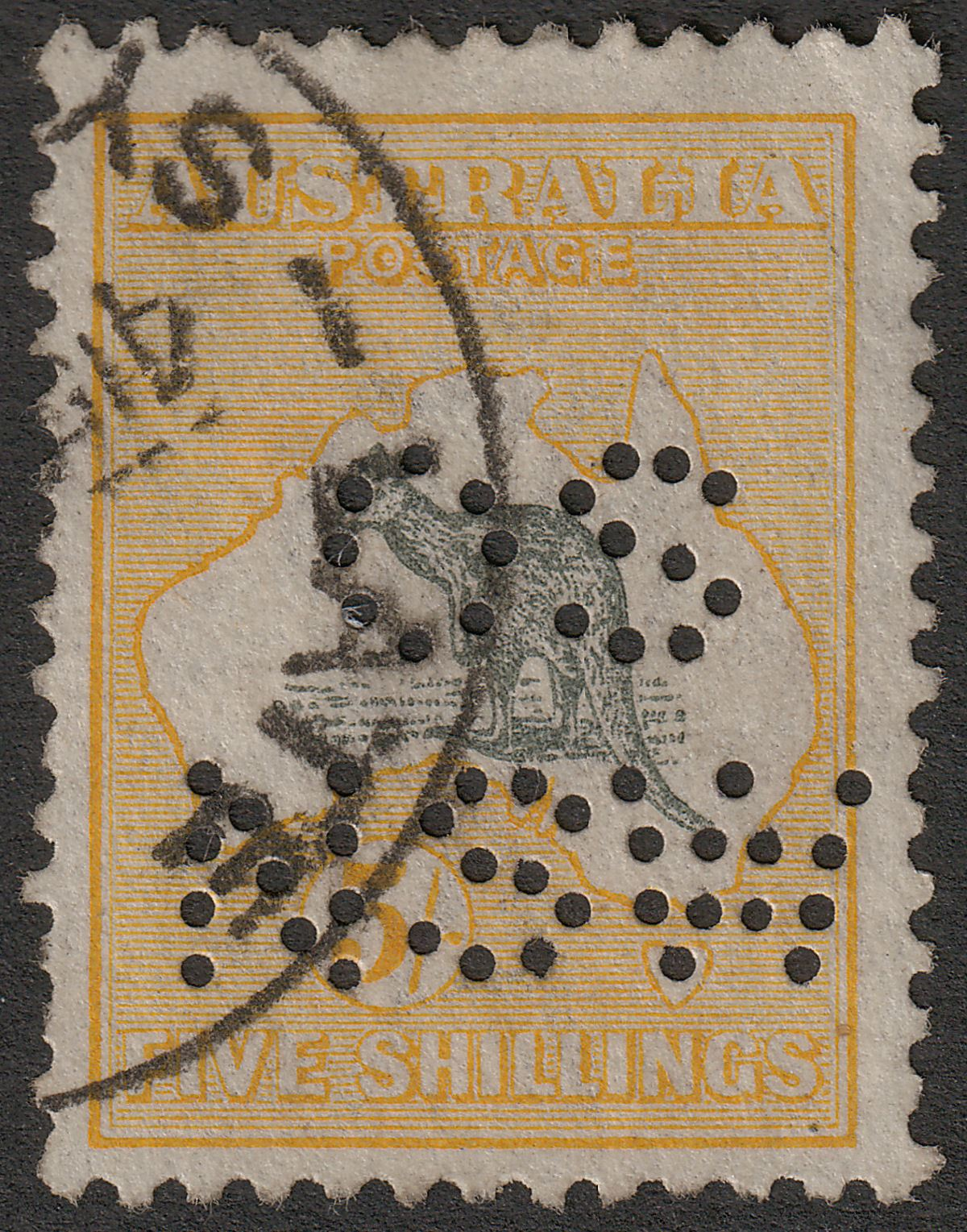 Australia 1918 KGV Roo 5sh Grey and Yellow perf OS NSW Used SG42 cat £110