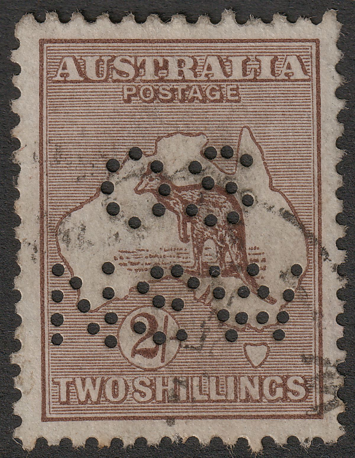 Australia 1916 KGV Roo 2sh Brown perf OS NSW Used SG41 cat £14