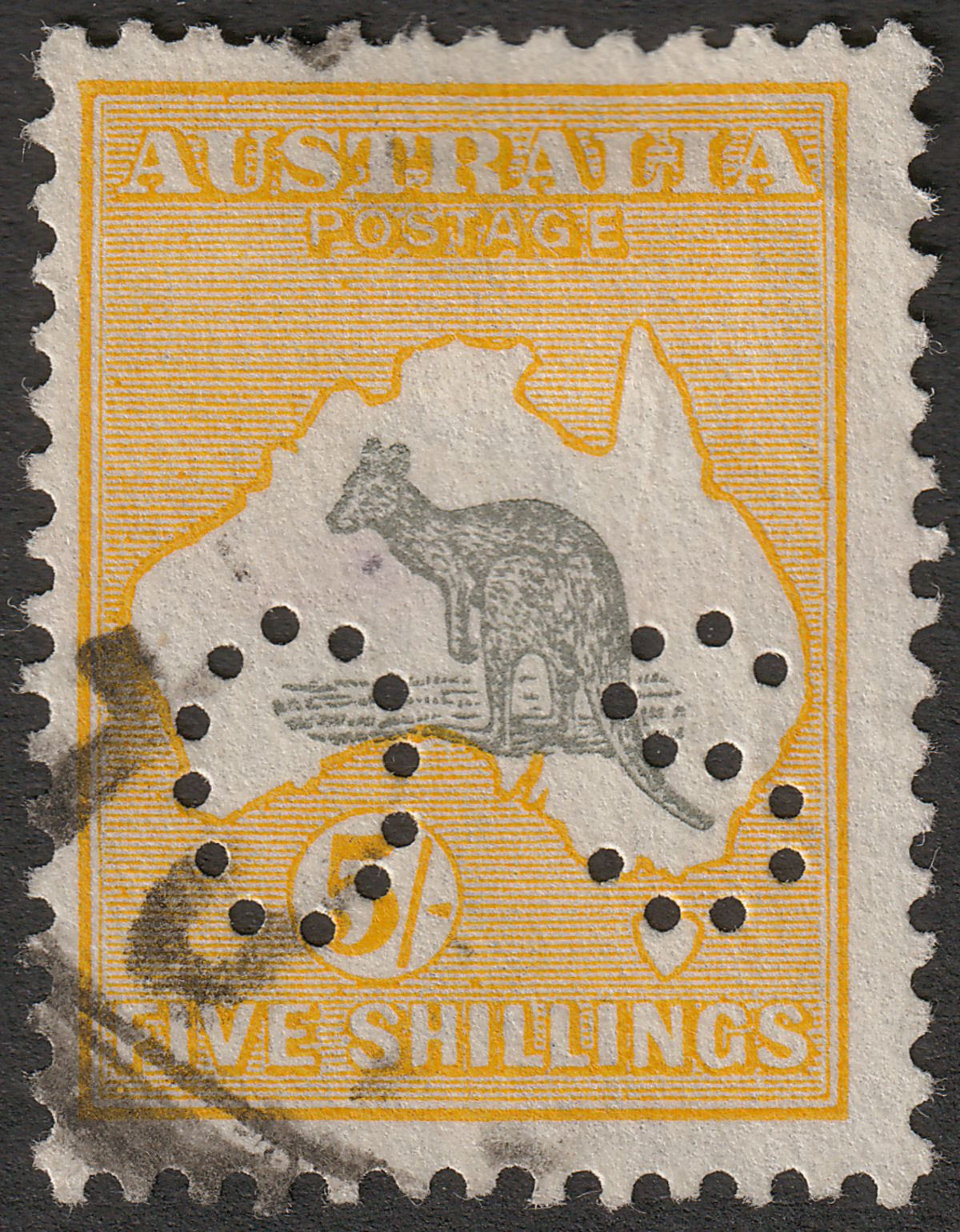 Australia 1918 KGV Roo 5sh Grey and Yellow perf OS Used SG O50 cat £70