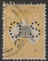 Australia 1929 KGV Roo 5sh Grey and Yellow Perf OS CTO Used SG O118 cat £45