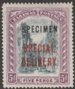 Bahamas 1918 KGV Special Delivery Overprint 5d Black and Mauve SPECIMEN SG S3s