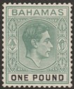Bahamas 1938 KGVI £1 Deep Grey-Green and Black Mint SG157