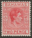 Bahamas 1941 KGVI 2d Scarlet with Variety Short T Mint SG152ba