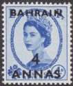 Bahrain 1956 QEII 4a Surcharge on 4d Ultramarine Dot Below R of ER Variety Mint