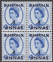 Bahrain 1956 QEII 4a Surcharge on 4d Block of 4 w Retouch to Neck Variety Mint