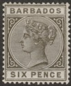 Barbados 1886 QV 6d Olive-Black Mint SG100