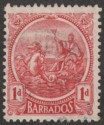 Barbados 1921 KGV 1d Red watermark Inverted and Reversed Used SG220ay
