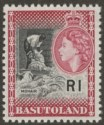 Basutoland 1963 QEII 1r Black and Light Maroon Mint SG79a