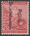 British Bechuanaland 1895 QV Opt Down 1d Mint Variety Broken ch in Bech SG38 var