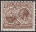 Bermuda 1920 KGV Tercentenary ¼d Brown wmk Crown to Right Mint SG59w