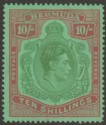 Bermuda 1942 KGVI 10sh Line p14¼ Variety Broken Lower Right Scroll Mint SG119be