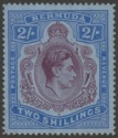 Bermuda 1941 KGVI 2sh Deep Purple and Ultramarine on Grey-Blue p14¼ Mint SG116b