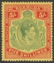 Bermuda 1937 KGVI 5sh Green and Red on Yellow p14 Mint SG118