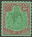 Bermuda 1942 KGVI 10sh Yellow Green and Carmine on Green p14¼ Mint SG119b
