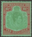 Bermuda 1943 KGVI 10sh Yellowish Green and Deep Red on Green p14 Mint SG119c
