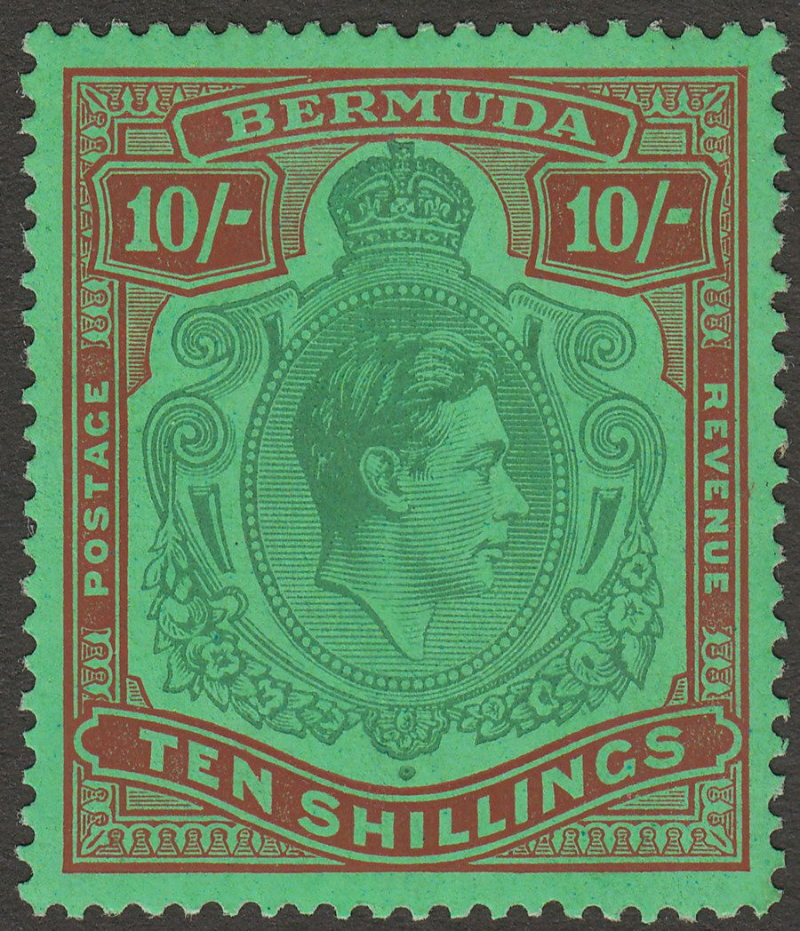 Bermuda 1938 KGVI 10sh Green and Deep Lake on Pale Emerald p14 Mint SG119