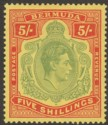 Bermuda 1939 KGVI 5sh Pale Green and Red on Yellow p14 Mint SG118a