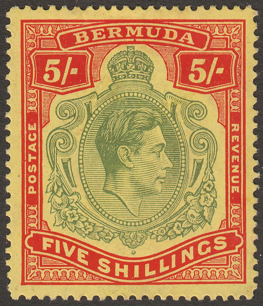 Bermuda 1941 KGVI 5sh Dull Yellow-Green and Red on Yellow p14¼ Mint SG118b