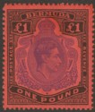 Bermuda 1952 KGVI £1 Bright Violet and Black on Scarlet p13 Mint SG121e