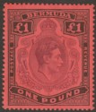 Bermuda 1937 KGVI £1 Purple and Black on Red p14 Mint SG121