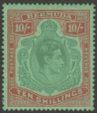Bermuda 1946 KGVI 10sh Deep Green and Dull Red on Green p14 Mint SG119d