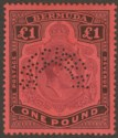 Bermuda 1937 KGVI £1 Purple and Black on Red p14 SPECIMEN SG121s