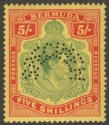 Bermuda 1937 KGVI 5sh Green and Red on Yellow p14 SPECIMEN SG118s