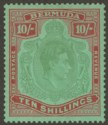 Bermuda 1943 KGVI 10sh Yl Grn + Red on Grn p14 Gash in Chin Variety Mint SG119cf