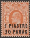 British Levant 1909 KEVII 1pi 30pa on 4d Brown-Orange Mint SG19