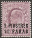 British Levant 1909 KEVII 2pi 20pa on 6d Dull Purple Mint SG20