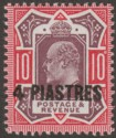British Levant 1912 KEVII 4pi on 10d Dull Reddish Purple and Carmine Mint SG31b