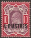 British Levant 1906 KEVII 4pi on 10d Dull Purple and Carmine Chalky Mint SG10b