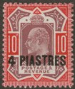 British Levant 1912 KEVII 4pi on 10d Dull Red Purple +  Aniline Pink Mint SG31a