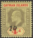 Cayman Islands 1908 KEVII 1d on 4d Black + Red on Yel Mint Revenue SG Footnoted