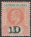 Cayman Islands 1907 KEVII 1d on 5sh Salmon and Green Mint SG19