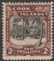 Cook Islands 1945 Village 2sh Black and Red-Brown wmk Multi Mint SG144