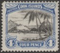 Cook Islands 1932 KGV 4d Black and Bright Blue perf 13 Mint SG103