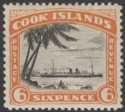 Cook Islands 1932 KGV 6d Black and Orange perf 13 Mint SG104