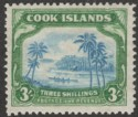 Cook Islands 1938 Canoe 3sh Greenish Blue and Green wmk Single Mint SG129