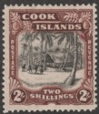 Cook Islands 1938 Village 2sh Black and Red-Brown wmk Single Mint SG128