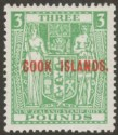 Cook Islands 1940 Postal Fiscal £3 Green wmk Single Wiggins Teape Mint SG123b