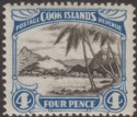 Cook Islands 1932 KGV 4d Black and Bright Blue perf 14x13 Mint SG103b