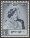 Cyprus 1948 KGVI RSW Royal Silver Wedding £1 Indigo Mint SG167