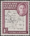 Falkland Islands Dependencies 1948 KGVI Thin Map 1sh Mint SG G16