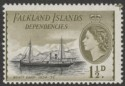 Falkland Islands Dependencies 1962 1½d Black+Yellow-Olive De La Rue Mint SG G28a