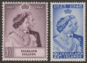 Falkland Islands 1948 KGVI Royal Silver Wedding Pair Mint SG166-167