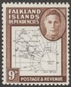 Falkland Islands Dependencies 1948 KGVI Thin Map 9d Dot in T Mint SG G15a