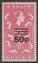 South Georgia 1971 QEII 50p Surcharge on 10sh Magenta Type I Mint SG31