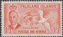 Falkland Islands 1952 KGVI Kelp Goose 1sh3d Orange Mint SG181