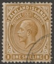 Falkland Islands 1921 KGV 1sh Deep Ochre Used SG79